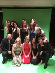 A big group of authors and editors with green screen!
